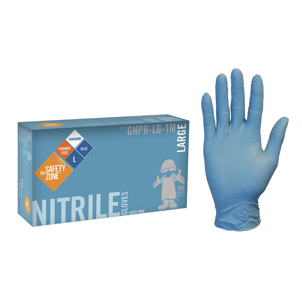 GLOVES NITRILE L BLU 10/100