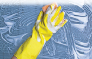 GLOVES RUBBER FLOCK YELLOW